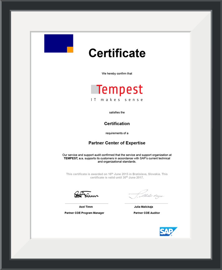 Tempest Has Obtained Another Prestigious Certificate Tempest As